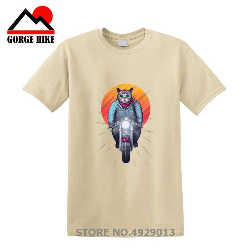 Novedad de verano, divertida camiseta de paseo en puesta de sol Caferacer, camiseta con Gato y bicicleta para Hombre, geniales Camisetas de regalo de cumpleaños para Hombre adolescente