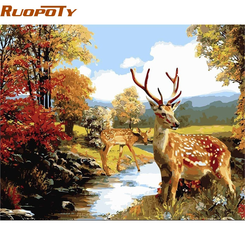 RUOPOTY животные DIY картина маслом по номерам Акриловая Краска на холсте Настенная картина ручная роспись для гостиной рамка оленя