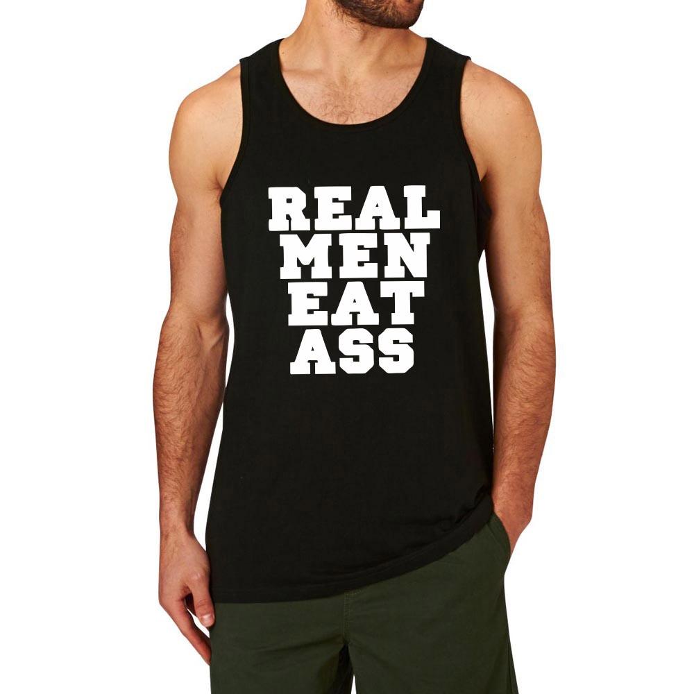 Mens Real Men Eat Ass Funny Workout Graphic Cotton Tank Tops men