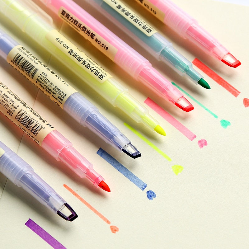 8 Pcs/lot Kawaii Highlighter Pens Cute Double Side Fluorescent Marker Pen Stationery Office Accessories School Supplies Canetas