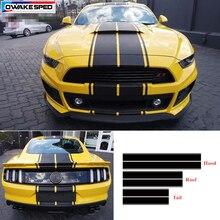 Calcomanía de vinilo a rayas con estilo para carreras deporte para Ford Mustang GT, capó de coche trasero para techo, pegatina completa, pegatinas decorativas para carrocería