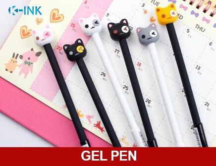 12 piunids/lote 0,5mm divertida expresión Facial gato Gel pluma, Kawaii Kitty negro Gel pluma