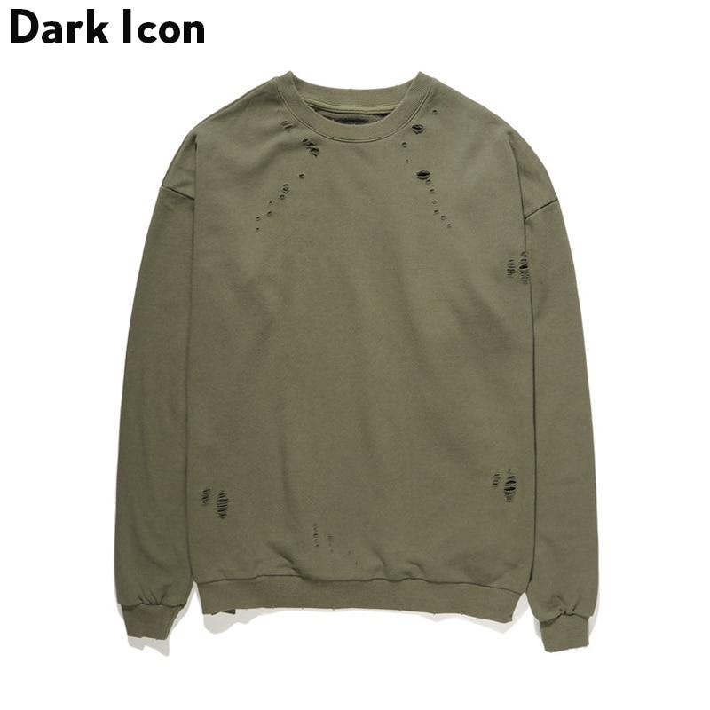 Oscuro icono sólido de Color Terry Material con agujero sudadera hombres 2019 en blanco Jersey sudaderas de hombre negro verde