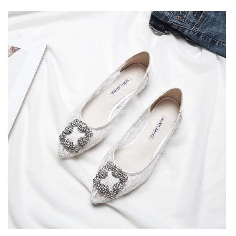 موضة المرأة كريستال الدانتيل عالية الكعب الفم الضحلة حذا فردي للسيدات حجر الراين أحذية نسائية مريحة 33-42