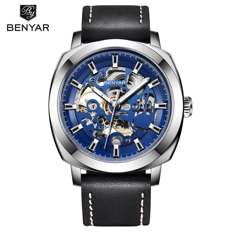 BENYAR 2019 جديد فاخر ساعة عادية الرجال ساعة أوتوماتيكية الهيكل العظمي ساعة الأعمال الميكانيكية Relogio الذكور Montre ساعة رجالي Reloje