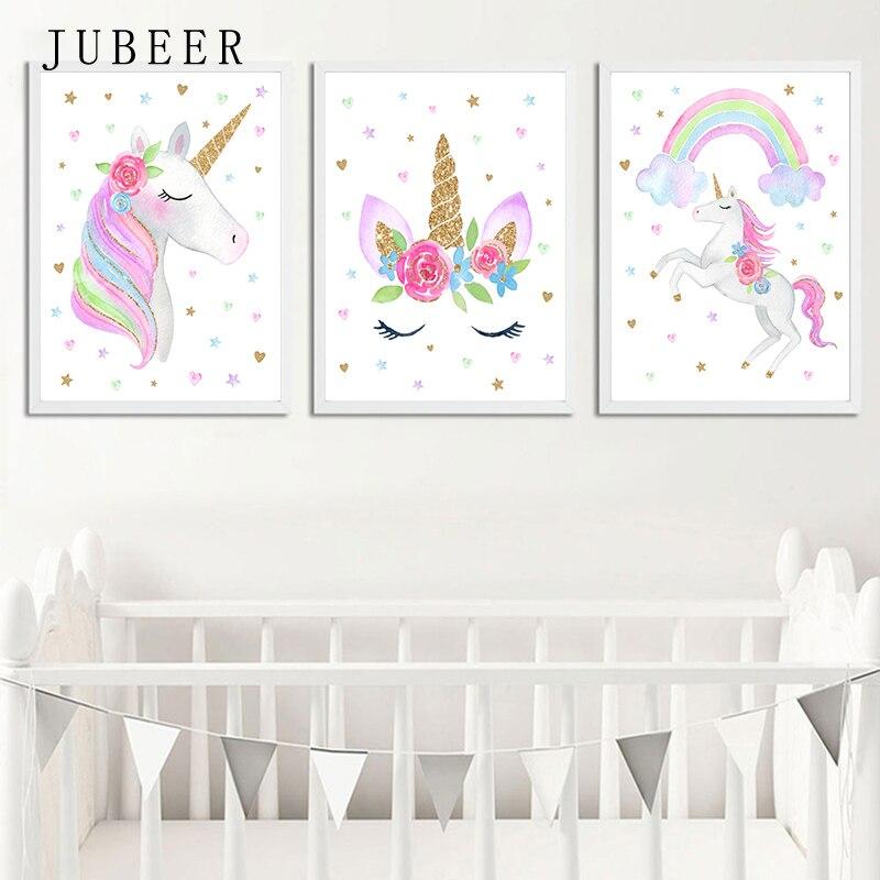 Estilo nórdico cartel y huellas lindo Animal pintura de la lona de los niños de decoración de dormitorio fotos para bebé decoración de la habitación de los niños