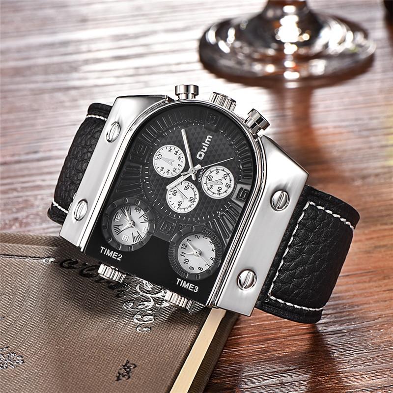 OULM Original Fashion Designer Brand Quartz Watches Men 3 Time Zone Big Face Genuine Leather Watch Sports Male Clock relogio