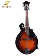 Senrhy 8-String Sunburst Mandolin Paulowni Musical Instrument with Rigid Mandolin Case For Stringed Instrument Lovers Gifts