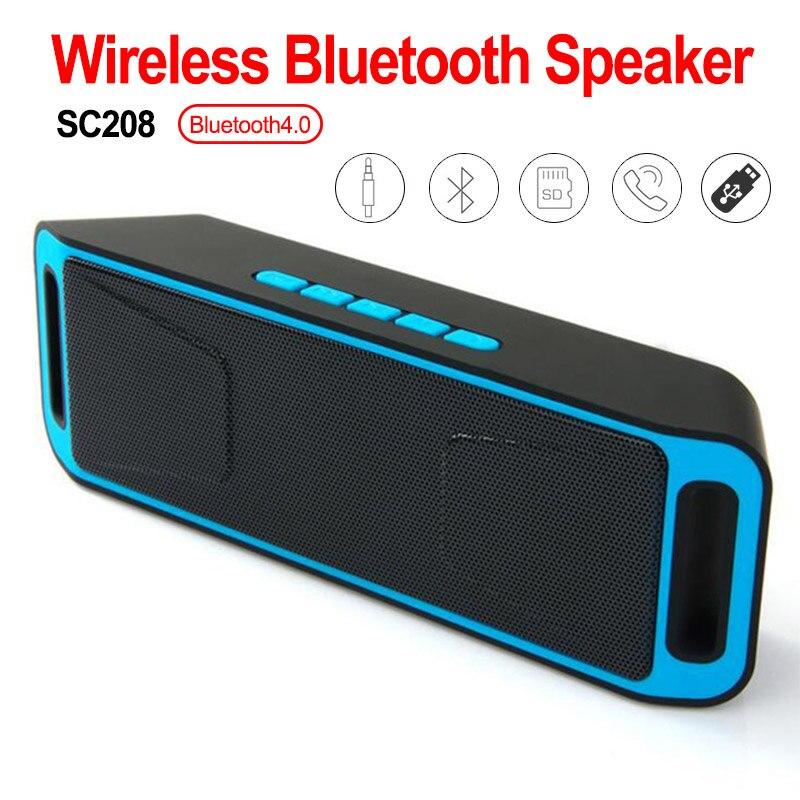 SC208 Bluetooth 4,0 Altavoz inalámbrico portátil Subwoofer estéreo TF USB FM Radio incorporado doble altavoz bajo sonido altavoces