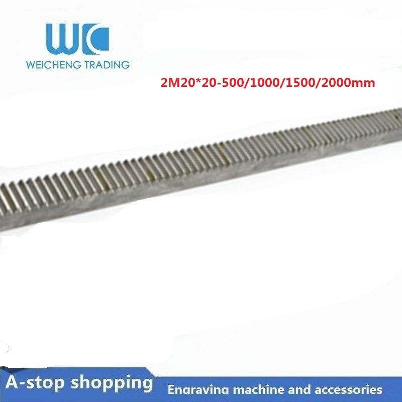1pc Mod2 engranaje rack bien los dientes 20*20 longitud 500/1000/1500/2000mm 45 # acero CNC Módulo 2 M2