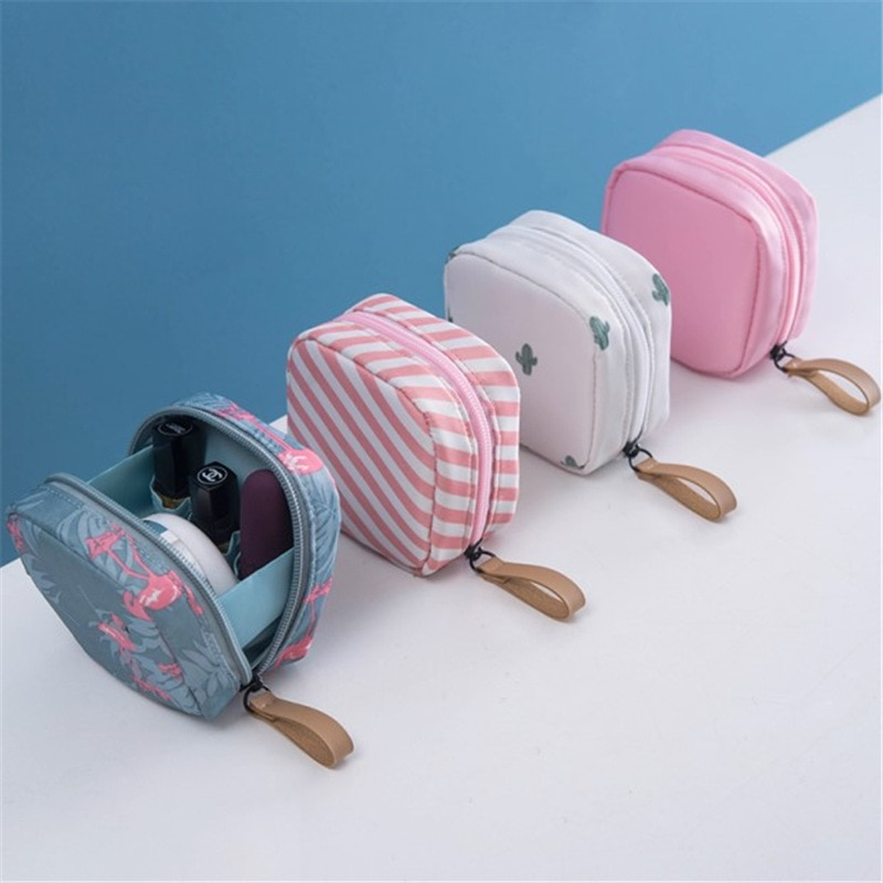 1 pc Mini Solid Color Flamingo Cosmetic Bag Cactus Travel Toiletry Storage Bag Beauty Makeup Bag Cos