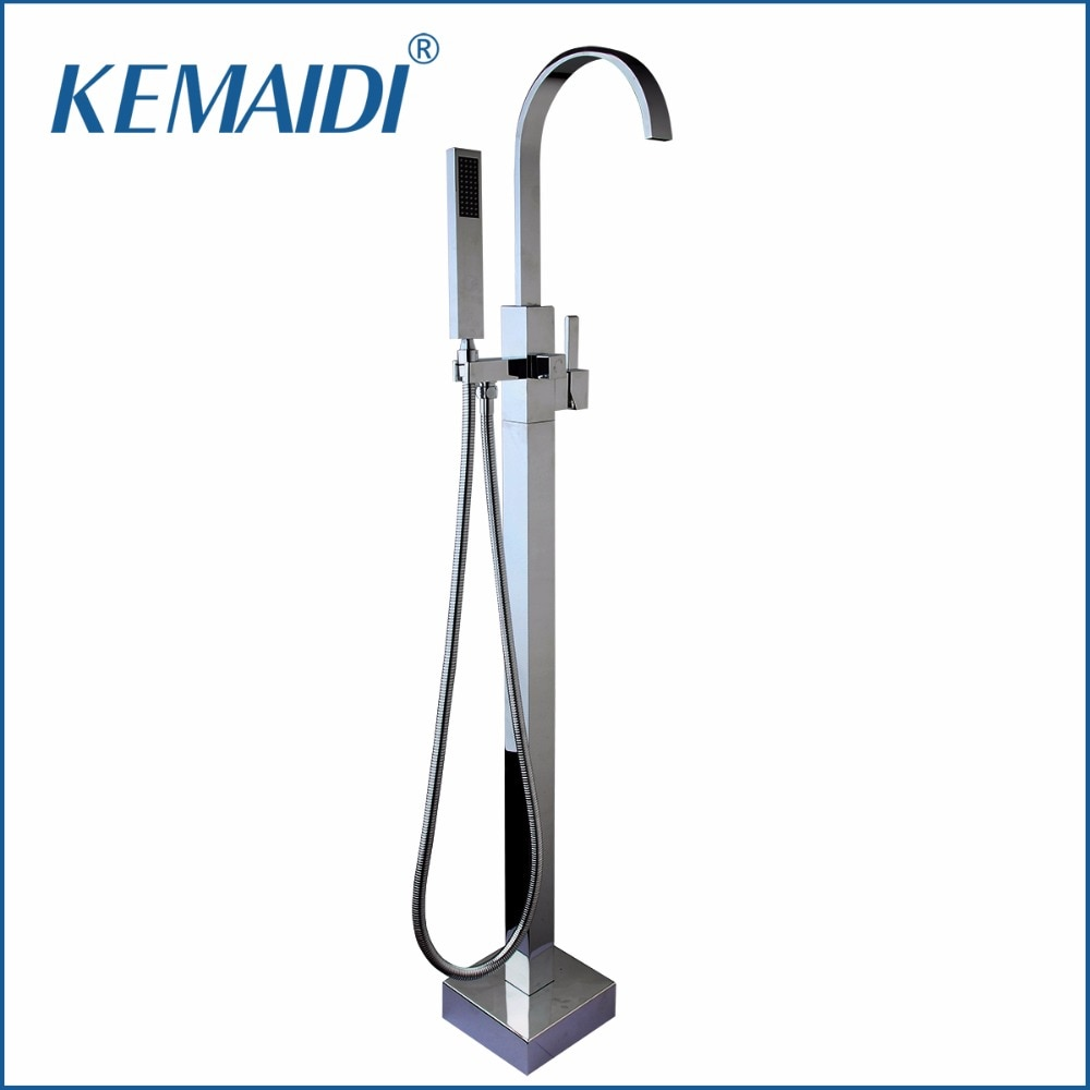 KEMAIDI-دش حمام من الكروم المصقول ، بمقبض واحد ، مثبت على الأرض ، صنبور حمام ، مع مجموعة خلاط بخاخ يدوي