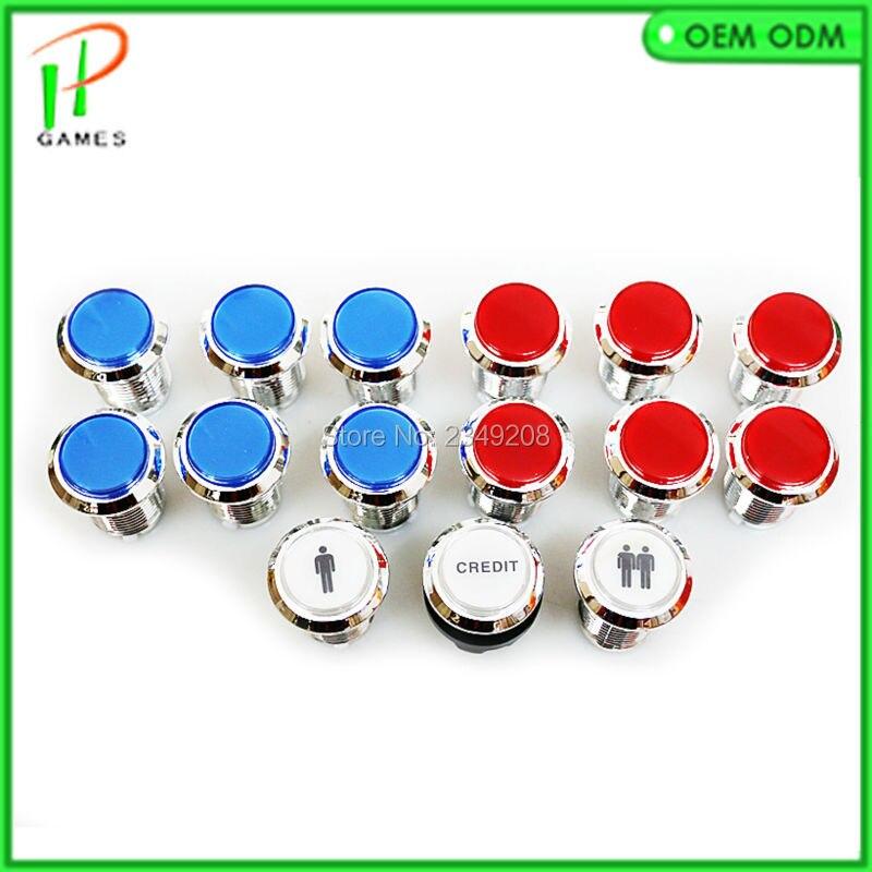 15 Uds 12V luz LED iluminada colores completos botón con Micro interruptor 8-Liner Cherry Master Arcade DIY kits piezas JAMMA MAME