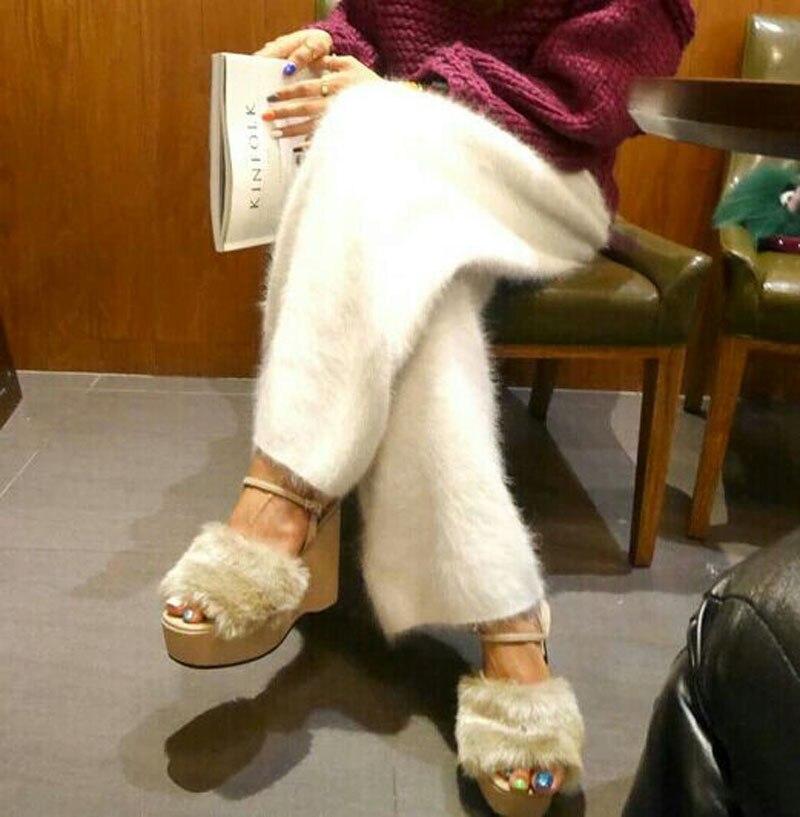 Женские зимние норковые кашемировые вязаные брюки теплые широкие Бесплатная