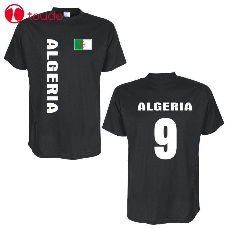 2 tarafı 2019 Erkek T-Shirt T-Shirt Algerien (Cezayir) Lander Flagshirt Mit Ruckennummer Kazak