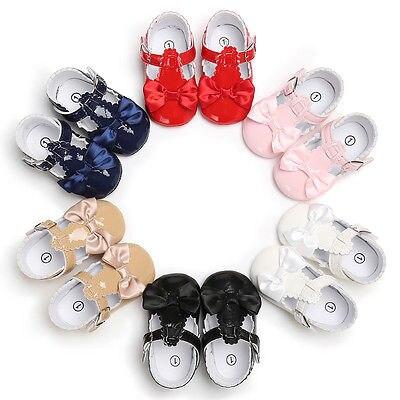 6 colores de la marca del bebé niñas zapatos de cuero PU para Recién Nacido zapatos de niñas en primer lugar los caminantes princesa arco bebé niñas shoes0-18 meses