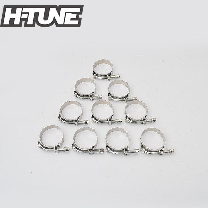 """H-TUNE 10 Uds de silicona de acero inoxidable de alta resistencia abrazaderas de manguera de 2 """"T-Bolt"""