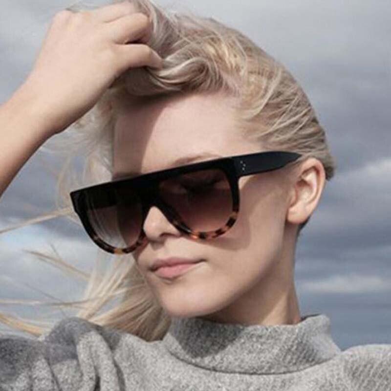 Lady Flat Top Frame Sun Glasses Cat Eye Sunglasses Women Luxury brand Classic Men Fashion Goggles Su