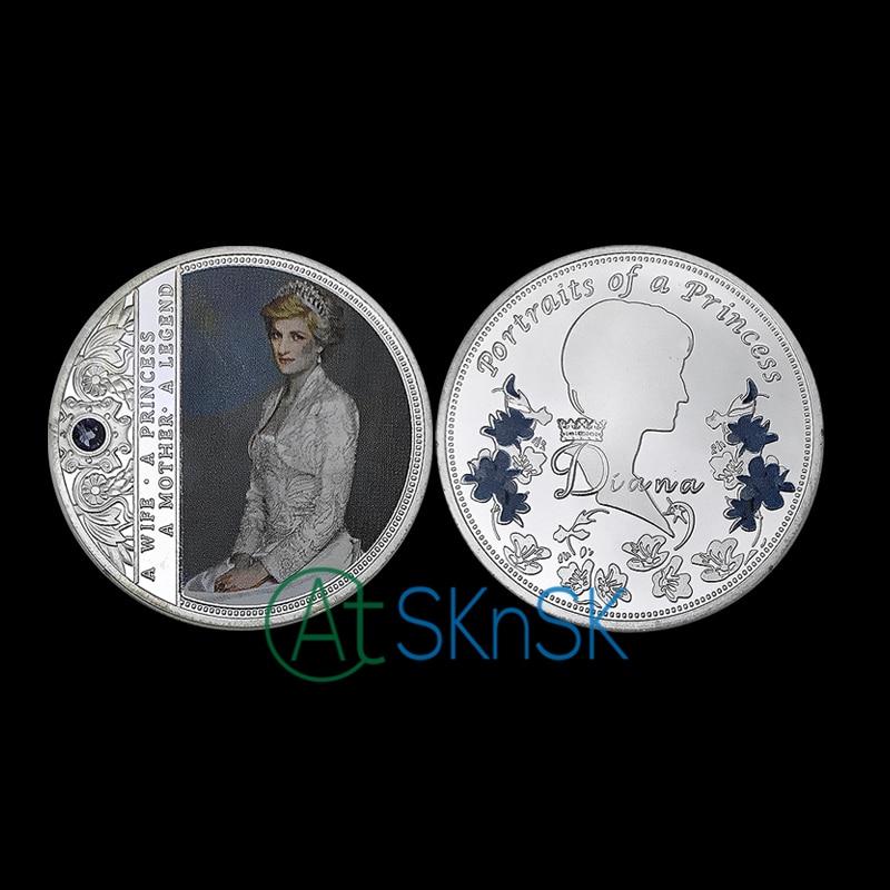 1-10pcs England a portrait of princess silver plated medal with blue diamond Diana Spencer Princess commemorative coins gift