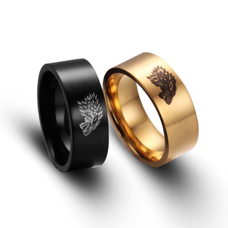 Anillo Monla de acero inoxidable para hombre, Color dorado, negro, plateado, Juego de tronos, casa de lobo de hielo, anillos de hombre Stark of Winterfell