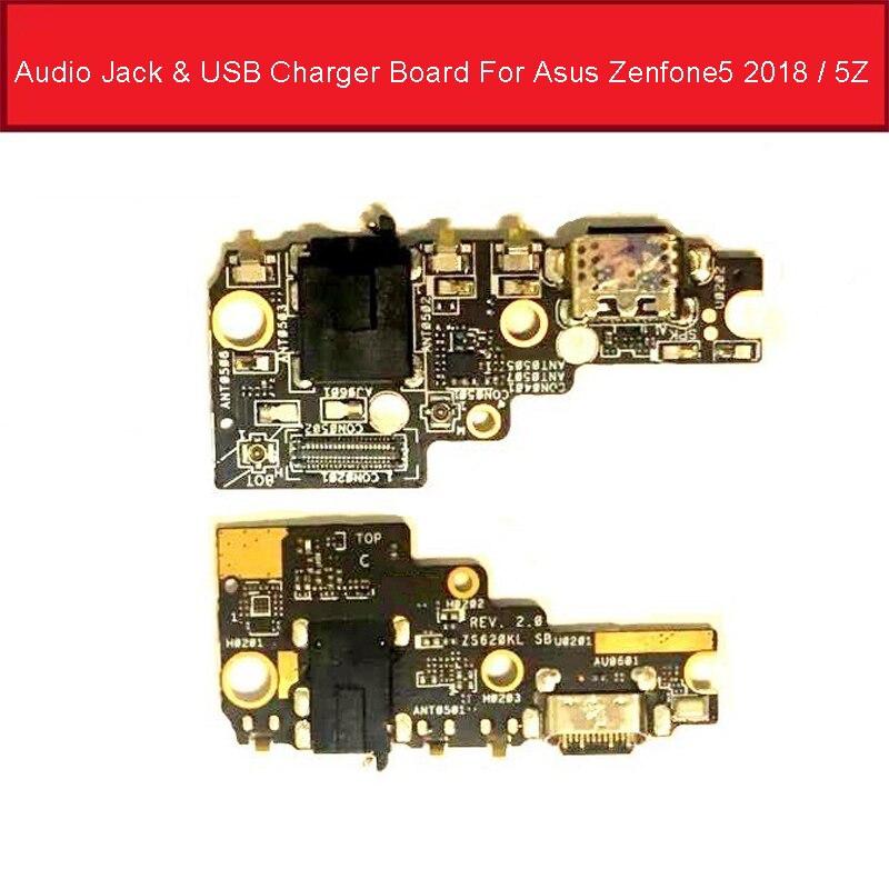 Conector de Audio y cargador USB para Asus Zenfone 5 2018 5Z ZE620KL Z01RD conector de puerto de carga con micrófono probada buena
