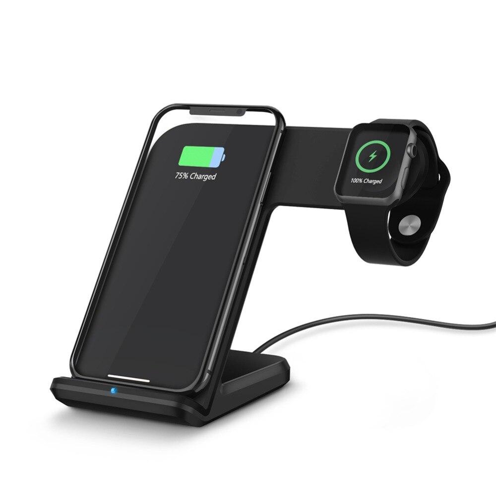 Facever 2 em 1 qi estação doca de carregamento sem fio carregador rápido para apple assistir série 1 2 3 4 iphone x xs max 8 plus samsung