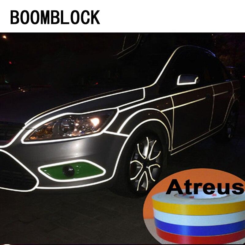 Boomblock 1*500cm tira reflexiva do carro corpo pneu adesivo para audi a4 a3 a6 c6 b7 b8 b5 q5 assento leon ibiza skoda fabia yeti