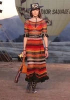 see orange wool striped runway dress 2 piece set 2018 spring summer fringed sleeve knitted dress silk lining set so4439