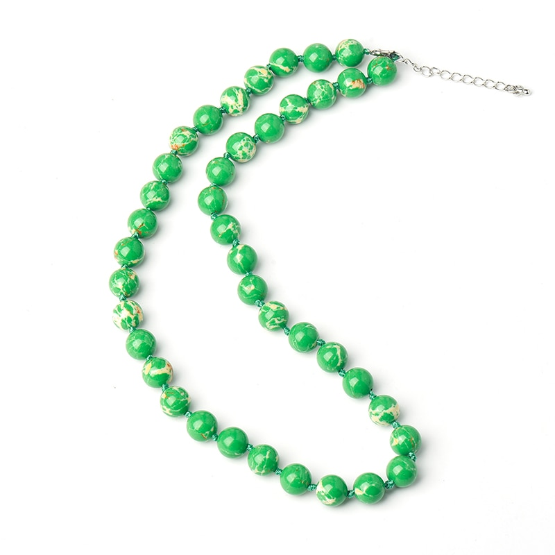 Pure Green  Add Light  yellow and white Stripes Long  and  thin  10 MM beads  Green Syn-thetic emperor  stone  Necklace