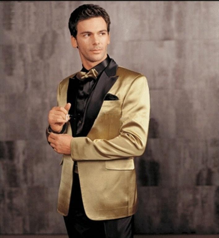 Custom Made Gold Jacket Black lapel Tuxedos Best man Groomsmen Best Man New Arrival Wedding Suits Bridegroom (Jacket Pants Tie)