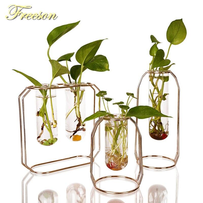 Nordic Glass Cuvette Flower Pot Gold Plated Iron Vase Fashion Plant Pot Garden Planter Modern Flowerpot Plant Stand Decoration