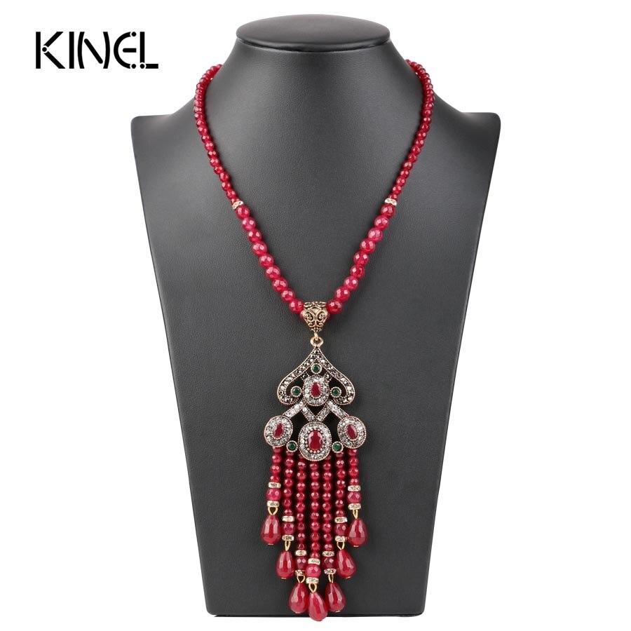 Vintage de lujo collar con colgante de borla larga para las mujeres de Color de oro turco de cristal rojo suéter indio Bijoux