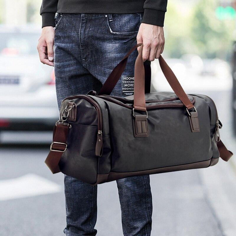 ¡Novedad de 2020! Bolso de viaje de piel sintética informal de gran capacidad, bolsos de viaje, bolsos de mensajero para hombre