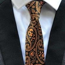 Unique Designer Necktie Mens Fashion Printed Ties Black with Golden Orange Skull Pattern