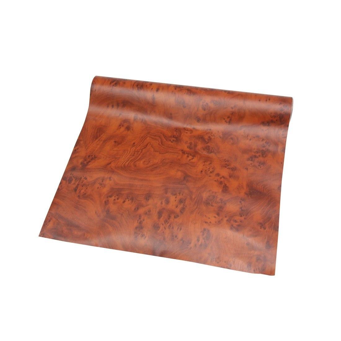 Uxcell 100x30 cm película de vinilo para coche autoadhesiva con textura de grano de madera marrón brillante
