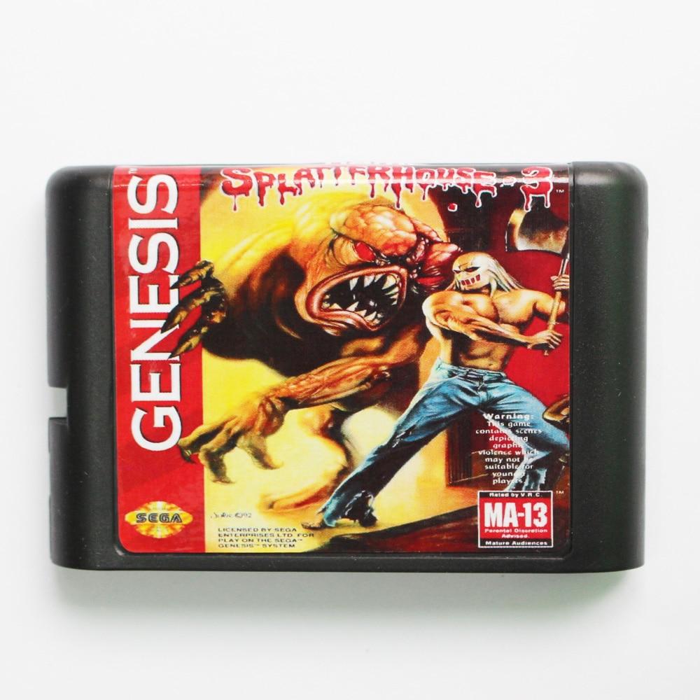 SplatterHouse Part 3 Game Cartridge Newest 16 bit Game Card For Sega Mega Drive / Genesis System