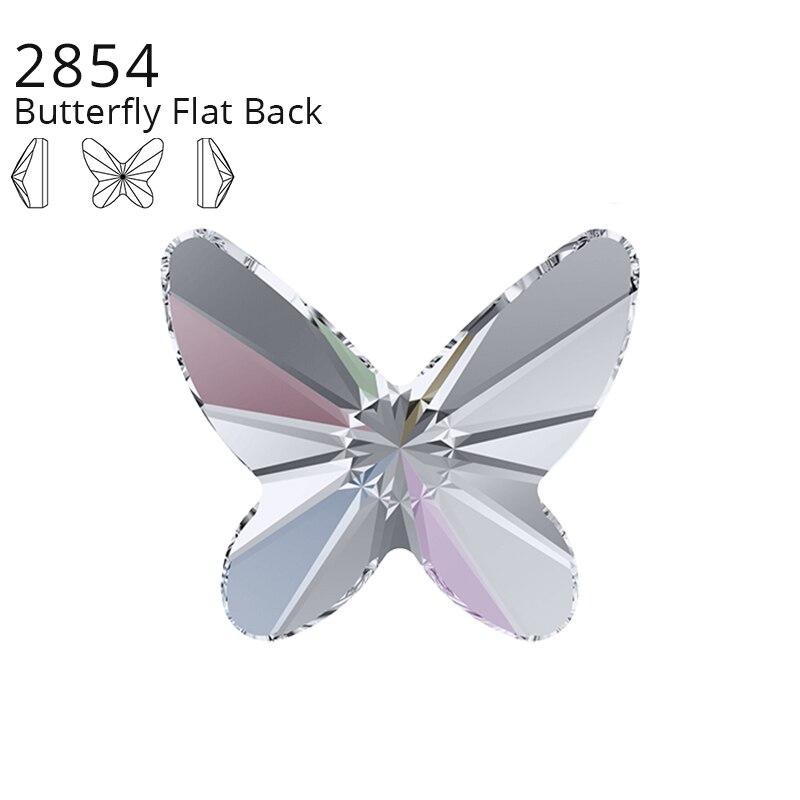Cristales originales de Swarovski 2854, 1 Uds., mariposa, espalda plana, sin Hotfix, espalda plana, Strass de imitación para la fabricación de joyas artísticas para uñas