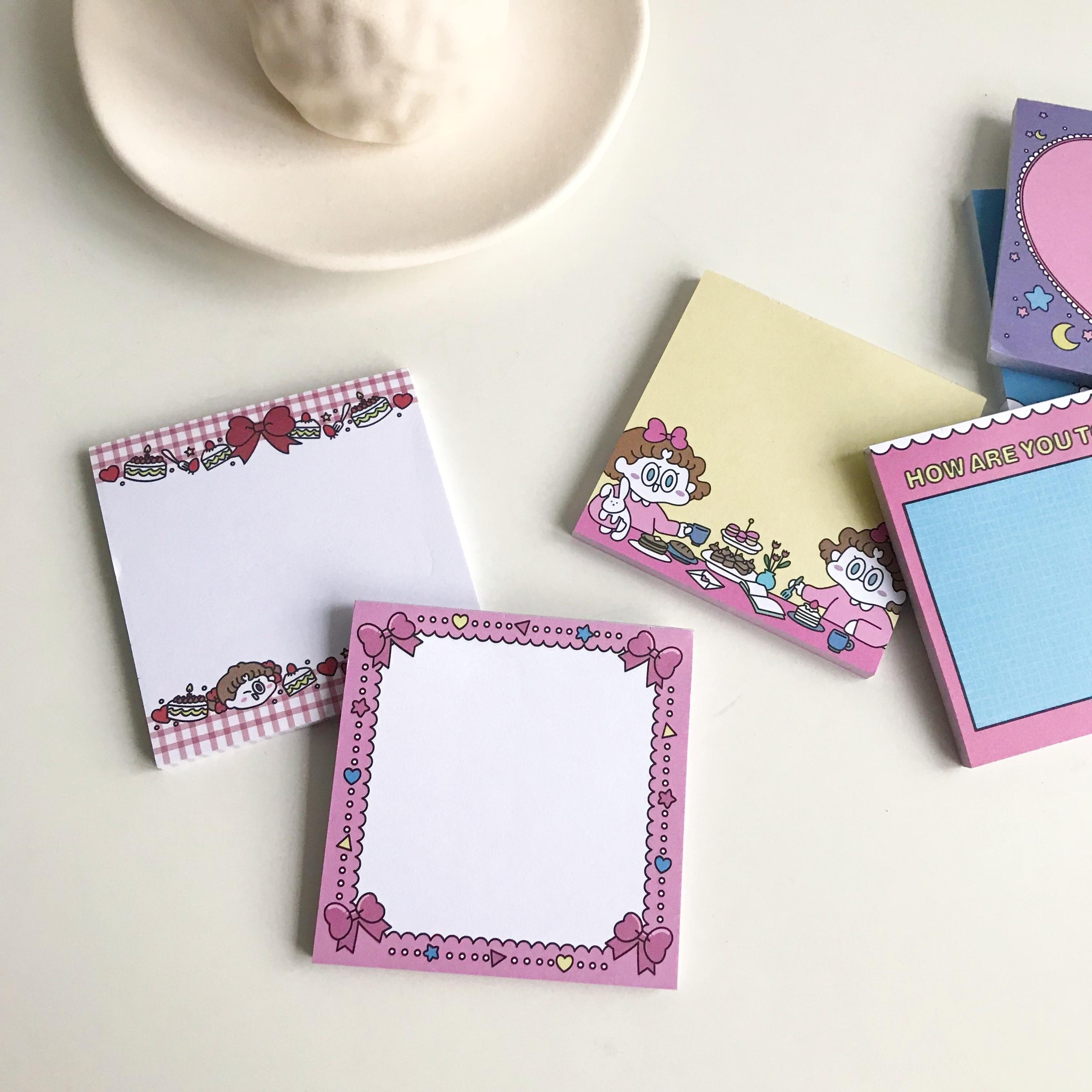 SIXONE 50 hojas de dibujos animados chica linda nota adhesiva Ins creativo cuaderno portátil bolsillo libro de palabras papelería Kawaii Bloc de notas