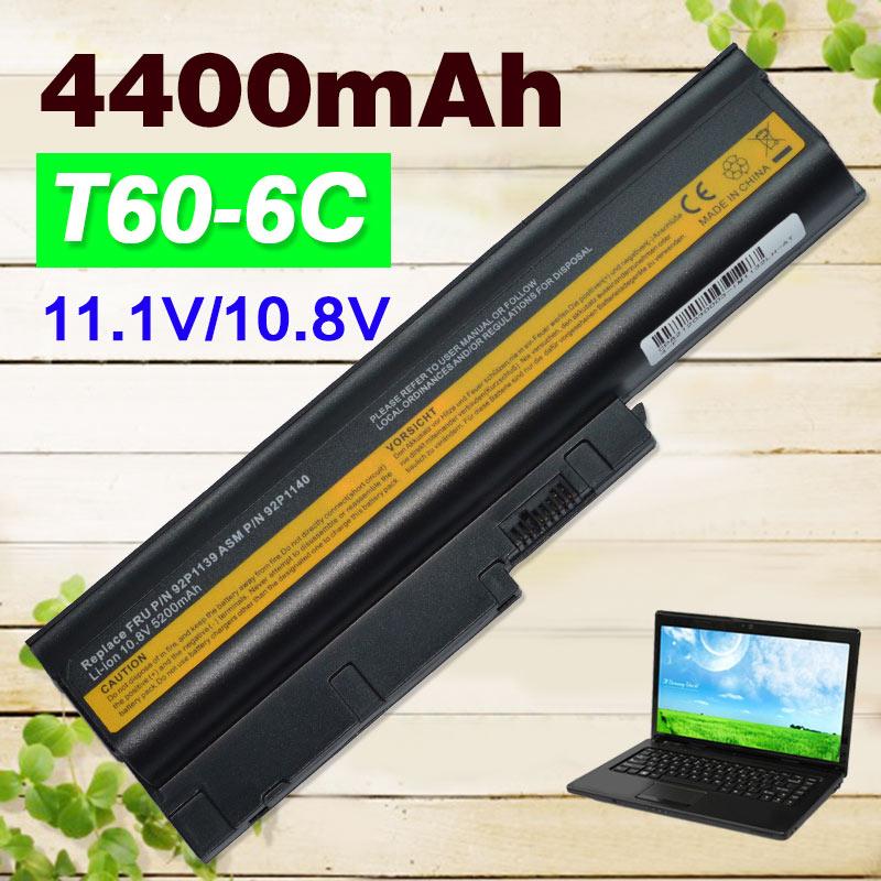 4400mAh batería de 6 celdas para IBM Thinkpad R60 R60E R61 R61E R61I T60 T60P T61 (14,1-15,4) T61P R500 T500 W500 Sl500 40Y6799