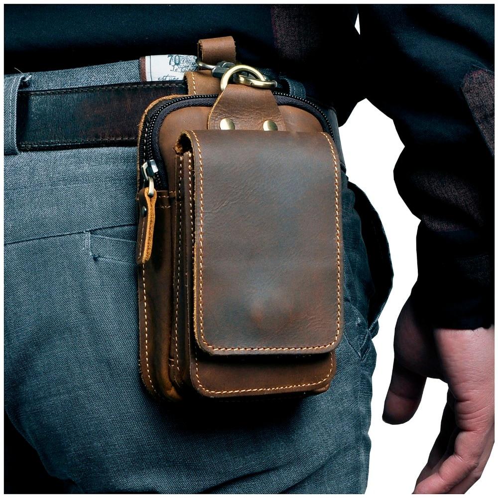 Real Leather men Casual Design Small Waist Bag Cowhide Fashion Hook Bum Bag Waist Belt Pack Cigarett