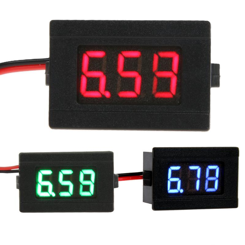 Voltímetro Digital 0,36 pulgadas de dos líneas voltímetro azul/rojo/verde alta calidad LED voltímetro Digital CC 4,5-30 V dos líneas voltímetro