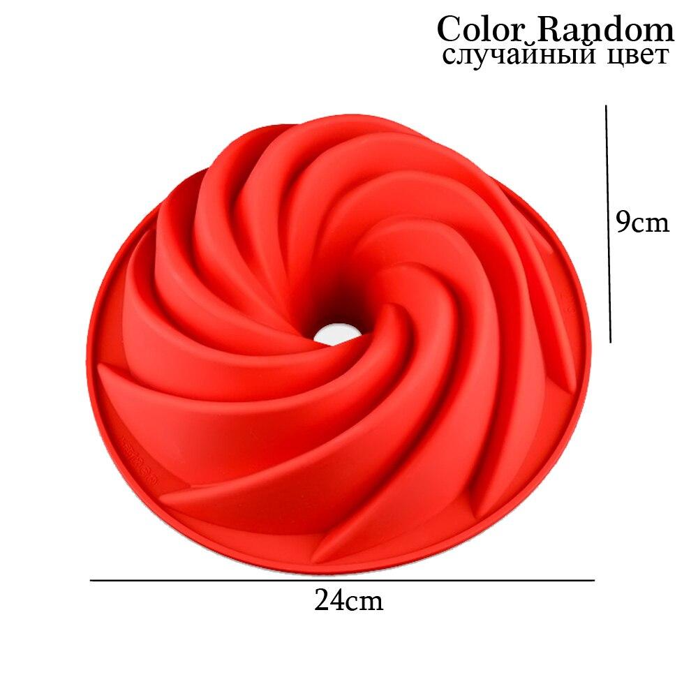 Molde para pasteles de silicona de grado alimenticio con forma de espiral grande de 24x10cm molde para pasteles 3d molde para pasteles forma de pan herramientas para hornear fuentes de horno