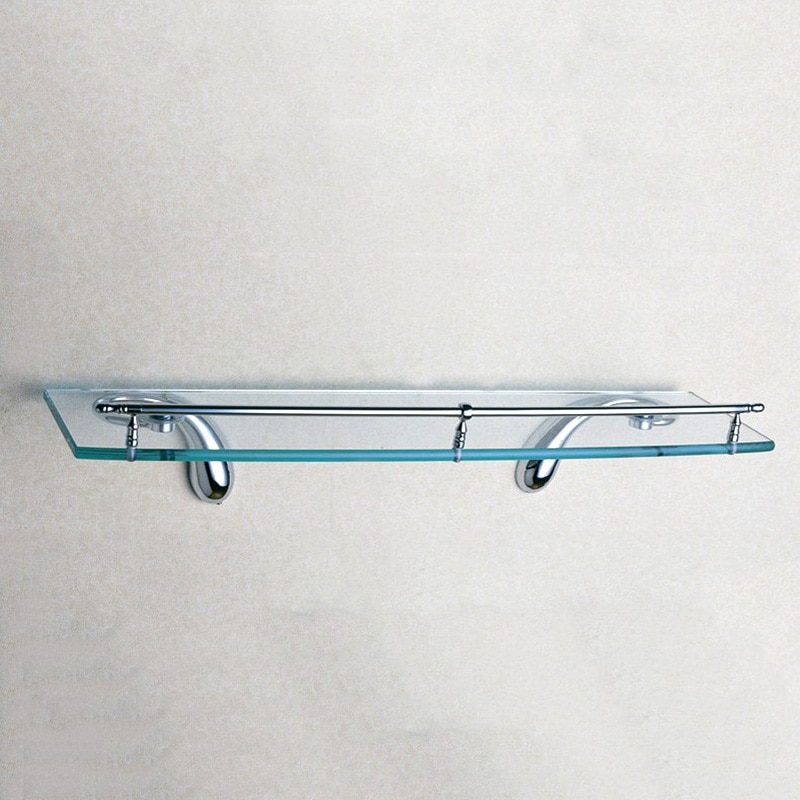 Estante de pared de vidrio individual montado en latón rectángulo flotante champú ducha titular de alta calidad cromo accesorios de baño 50CM