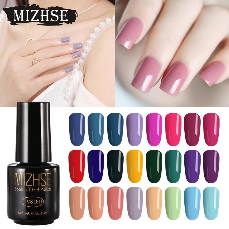 MIZHSE 7ML esmalte de uñas de Gel de baño de clavo híbrido Primer Base Top 26 colores esmalte Gel laca todo para manicura y diseño de uñas