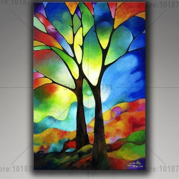 5d diy cuadro decorativo de diamantes pegatinas de pared punto de cruz abstracto árbol sobre lienzo bordado mosaico de diamantes decoración del hogar