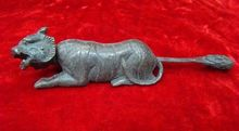 Tigre ancien chinois en laiton 10.2 cm *   Rare sculpture en forme de tigre, peut utiliser le cadenas