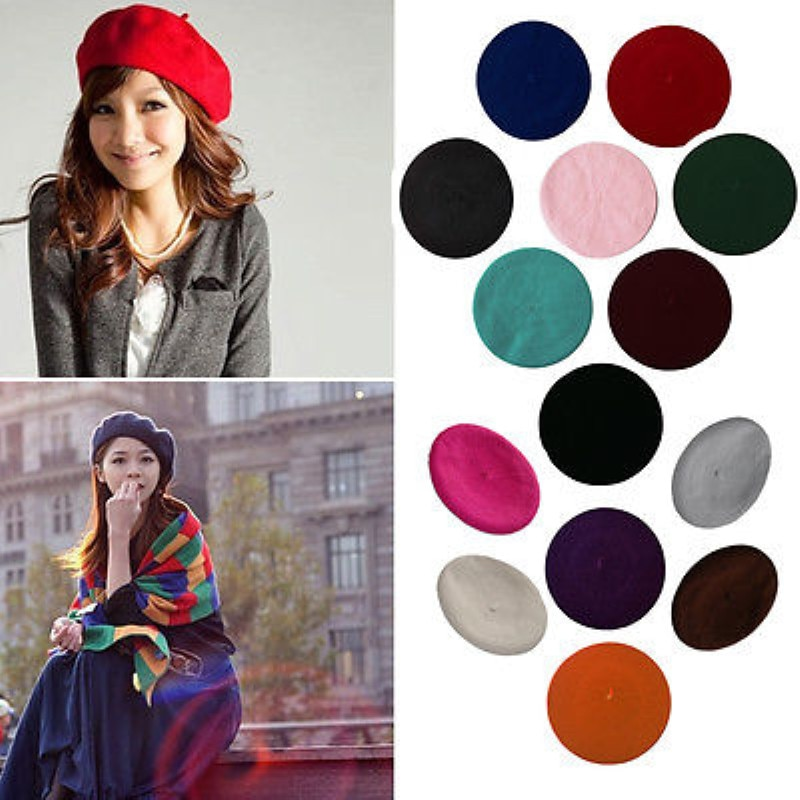 High Quality Womens Ladies Sweet Solid Warm Wool Winter Beret French Artist Beanie Hat Ski Casual Cap Hat Headwear