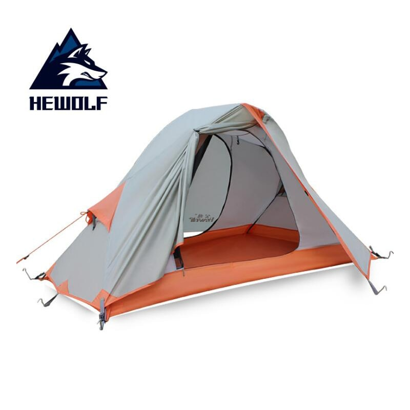 1-2 person classical camping tent double layer aluminum pole tent anti typhoon four seasons Alpine coated silicone coated tent