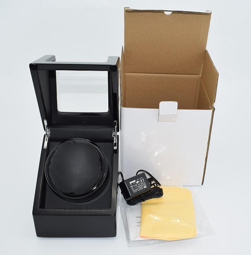 50% Discount Gift Luxury Package 1 Grid Black Wood/Leather Watch Winder Box Power by Battery or EU/US/UK/AU Plug Mabuchi Motor