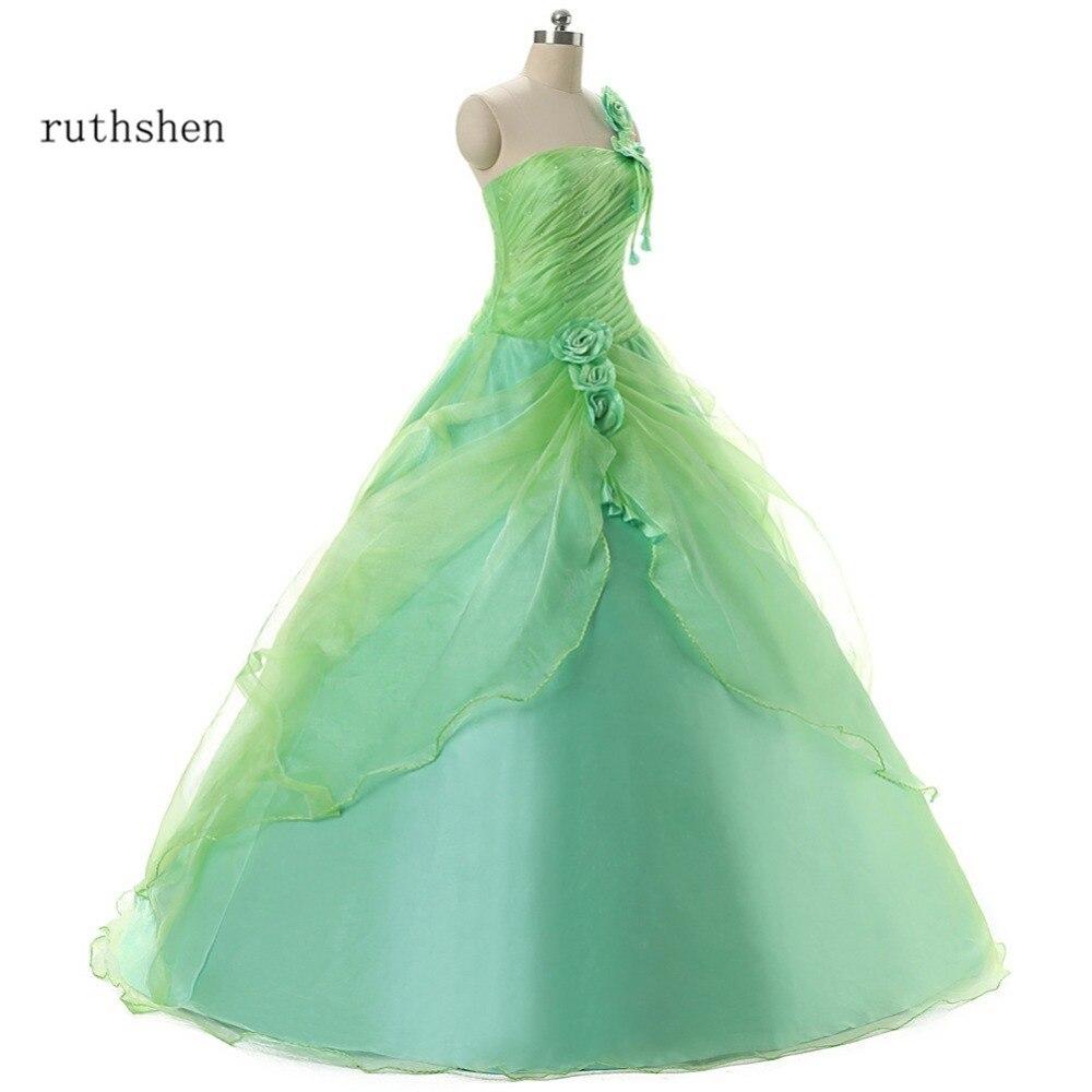 ruthshen Debutante Sweet 16 Girls Masquerade Ball Gowns 2020 One Shoulder Organza Mint Green Cheap Quinceanera Dresses